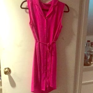 Pink sleeveless button up dress never worn